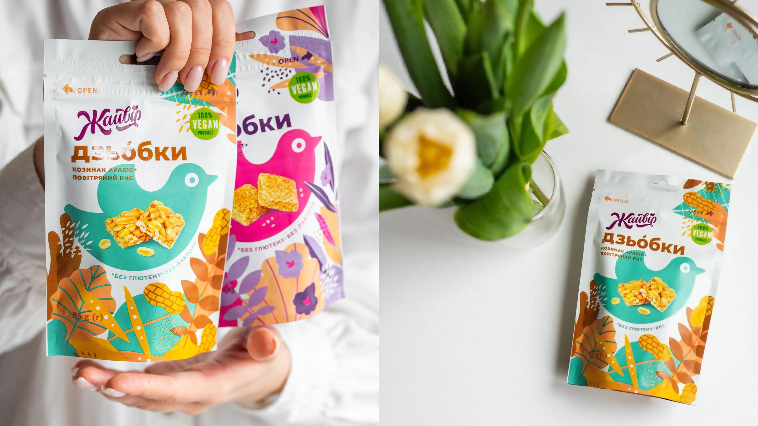 Dziobky Three Distinct Flavoured Snack Packaging Design Created by Dozen Agency