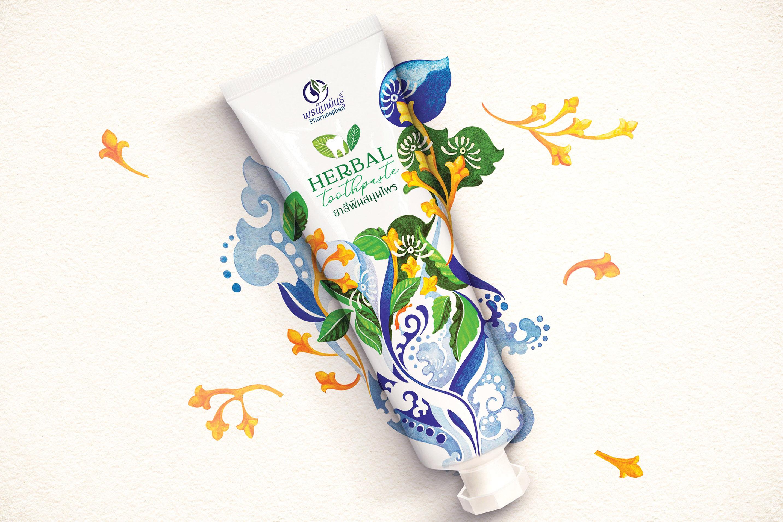 Phornnaphan Herbal Toothpaste Packaging Design by Dusadee Lamkijja