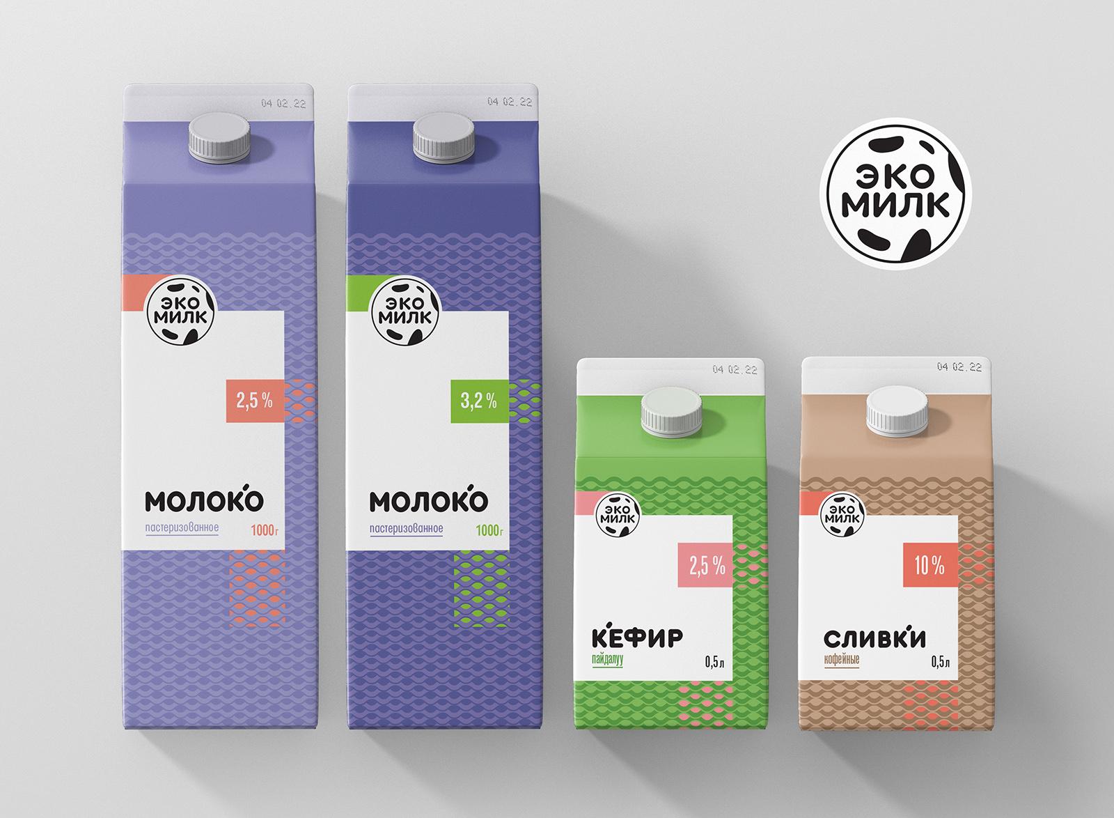 EkoMilk Brand Identity and Packaging Design by Alexey Lysogorov