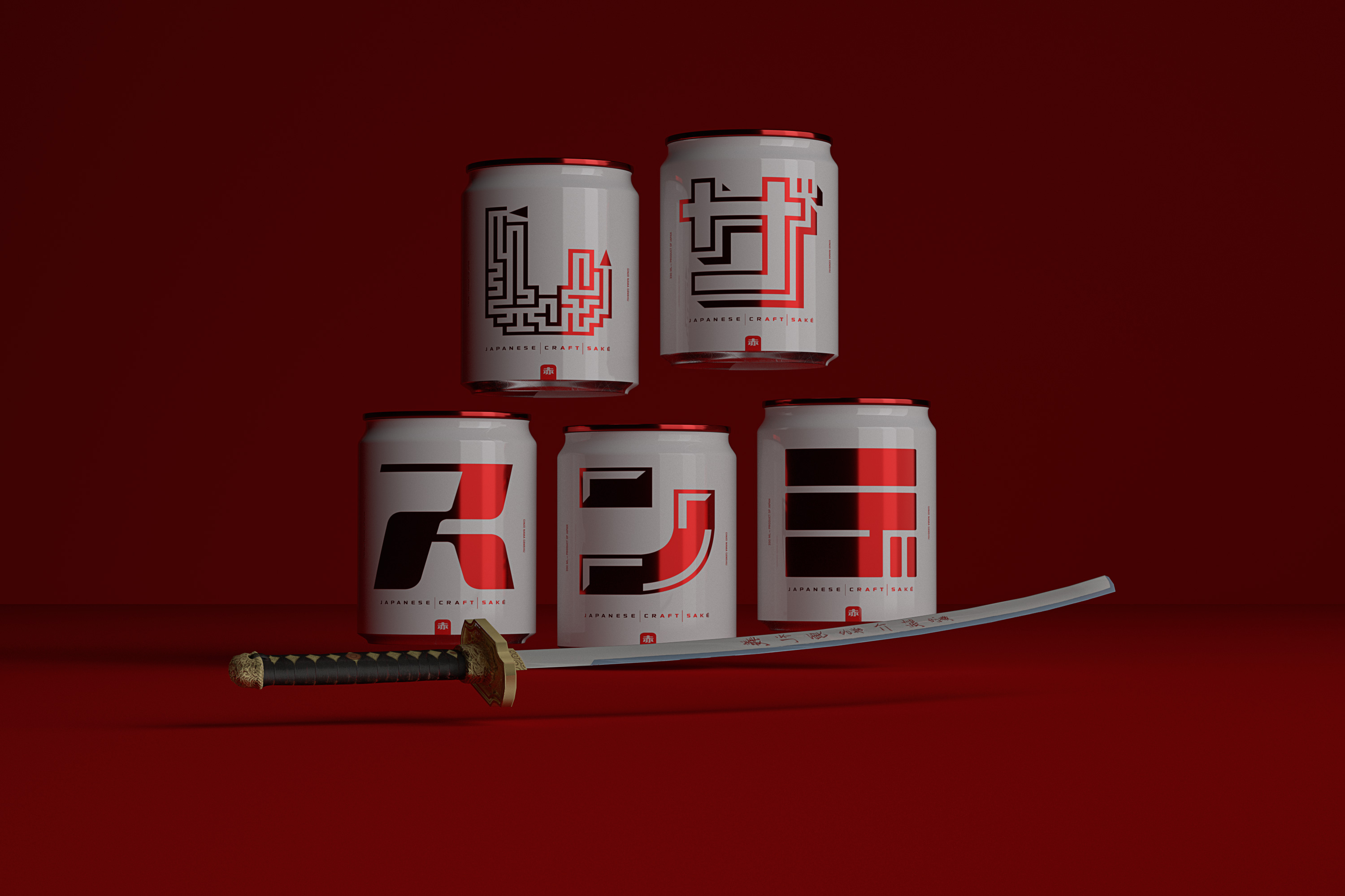 Concept Packaging Design for Red Saké, Japanese Craft Spirits in Square-Shaped Aluminium Cans