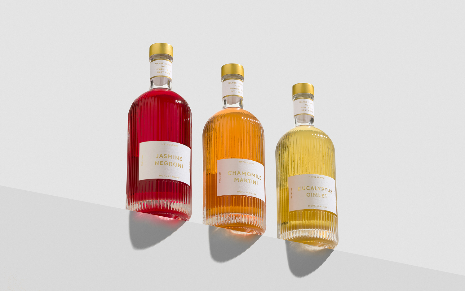 Maybe Sammy Cocktails Identity and Bespoke Bottle Packaging Designed by The Bar Brand People